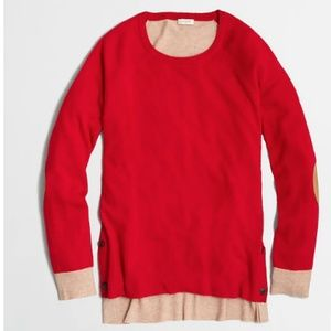 J Crew Side-Button Elbow-Patch Sweater Red Brown